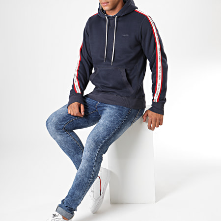 Tokyo Laundry - Sweat Capuche A Bandes Willow Pines Bleu Marine