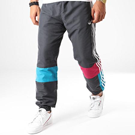 adidas - Pantalon Jogging A Bandes ASYMM ED6245 Gris Anthracite Blanc Bleu Canard Violet