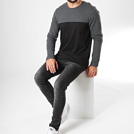 Calvin Klein - Tee Shirt Manches Longues NM1581E Noir Gris Anthracite Chiné