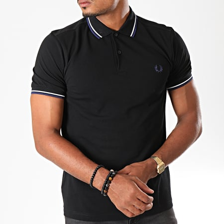 Fred Perry - Polo Manches Courtes Twin Tipped M3600 Noir Bleu Marine Blanc