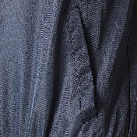 Sergio Tacchini - Veste Col Zippé Capuche A Bandes Dangel 38700 Bleu Marine Jaune Blanc