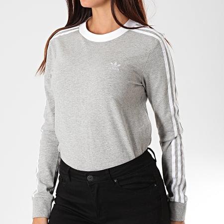 adidas - Tee Shirt Manches Longues Femme A Bandes 3 Stripes DV2591 Gris Chiné