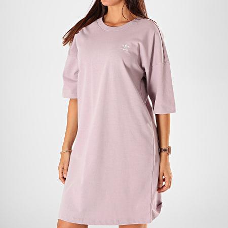 adidas - Robe Tee Shirt Femme Trefoil ED7581 Mauve ...