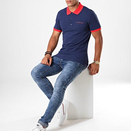 Calvin Klein - Polo Manches Courtes Contrast 3791 Blu Marine Rouge