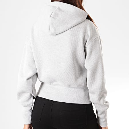Champion - Sweat Capuche Femme Big Script 112552 Gris Chiné