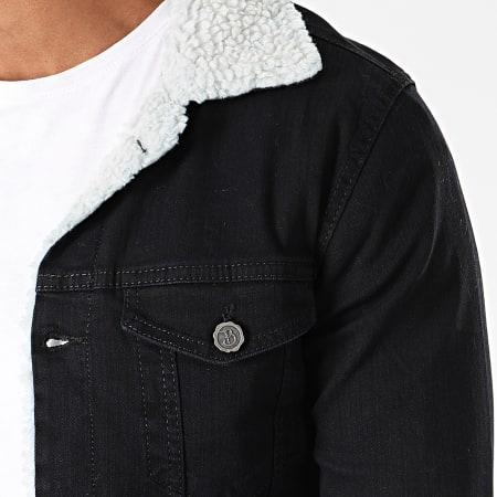 Black Needle - Veste En Jean A Col Mouton 5005 Noir Blanc