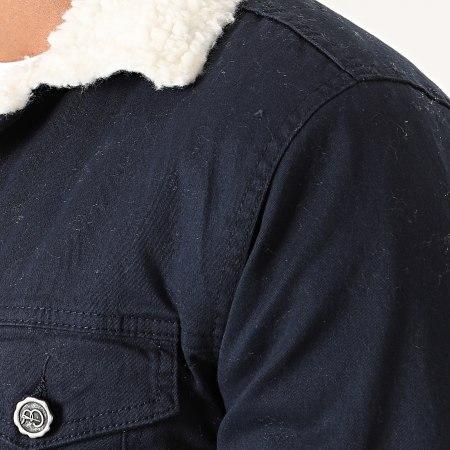 Black Needle - Veste Col Mouton 5002 Bleu Marine Blanc