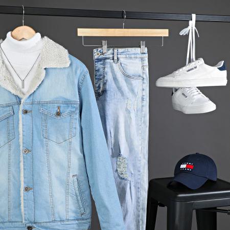Black Needle - Veste En Jean A Col Mouton 5000 Bleu Wash