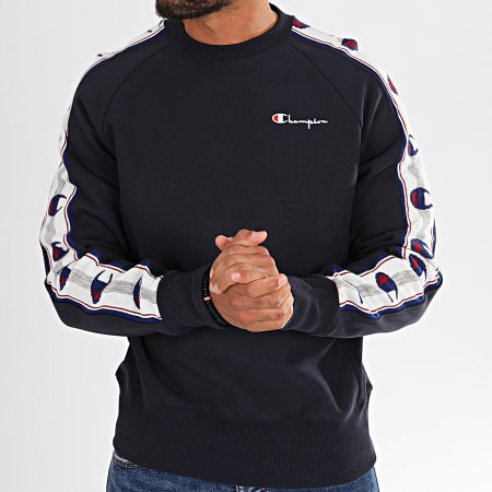 Champion - Sweat Crewneck A Bandes 213734 Bleu Marine