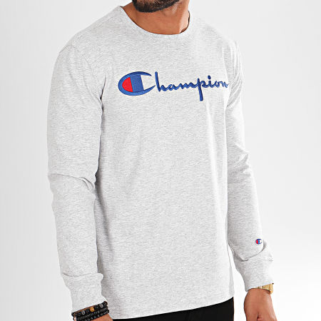 Champion - Tee Shirt Manches Longues Big Logo 213608 Gris Chiné