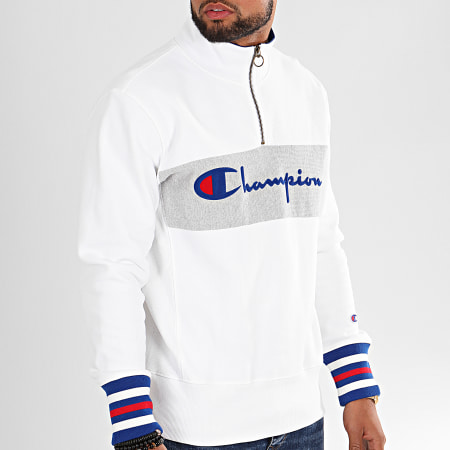 Champion - Sweat Col Zippé Big Script 213716 Blanc