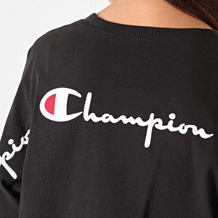 Champion - Tee Shirt Crop Femme Back Script 112196 Noir