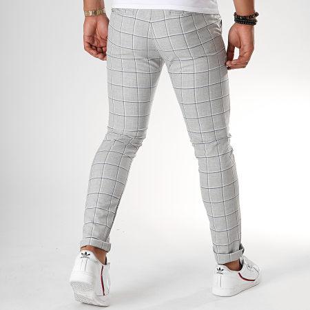 MTX - Pantalon Carreaux DJ527 Gris Chiné Bleu Blanc