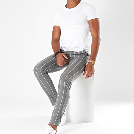 MTX - Pantalon A Rayures DJ525 Gris Chiné