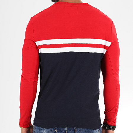 Superdry - Tee Shirt Manches Longues OL Colour Block M6000007A Rouge Bleu Marine