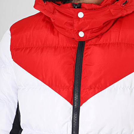 Superdry - Doudoune A Capuche Icon Racer Sports Puffer M5000055A Blanc Rouge