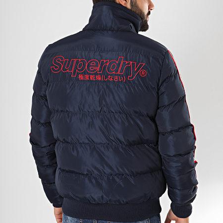 Superdry - Veste Zippée A Bandes Icon Sports Puffer M5000057A Bleu Marine