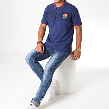 FC Barcelona - Polo Manches Courtes Fan FC Barcelona B19011 Bleu Marine