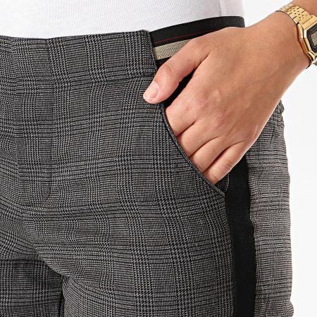 Le Temps Des Cerises - Pantalon Carreaux A Bandes Marker Gris Noir Doré