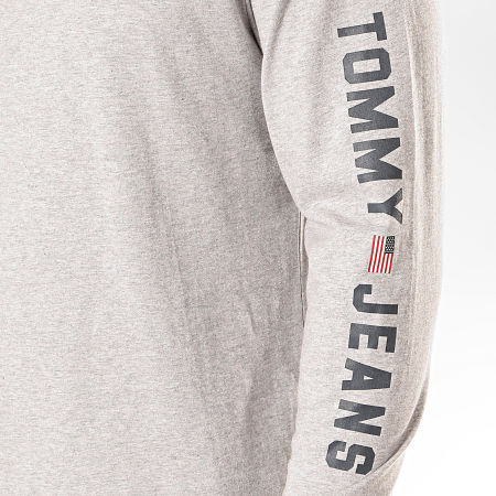 Tommy Hilfiger Jeans - Tee Shirt Manches Longues US Flag 7066 Gris Chiné