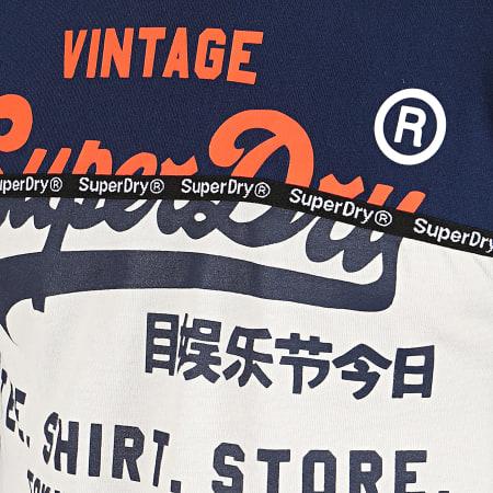 Superdry - Tee Shirt Manches Longues Shop Split Panel M6000016A Ecru Bleu Marine