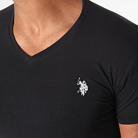 US Polo ASSN - Tee Shirt Double Horse V Neck Noir