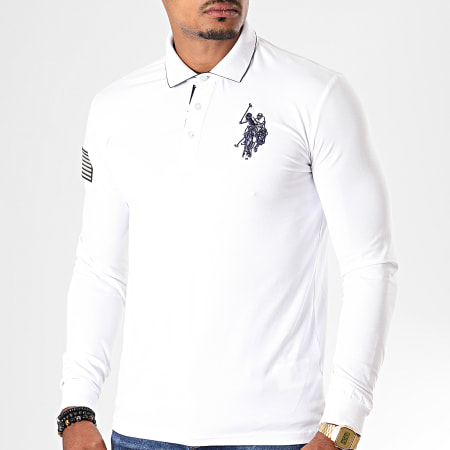 US Polo ASSN - Tee Shirt Manches Longues USPA Flag Polo Blanc