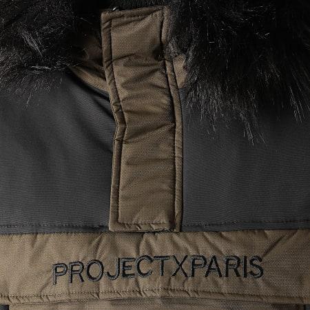 Project X - Parka Demi Zip Capuche Fourrure 1950005 Vert Kaki
