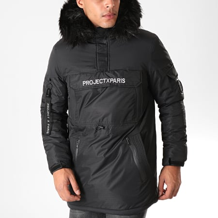 Project X - Parka Demi Zip Capuche Fourrure 1950005 Noir