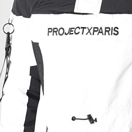 Project X - Veste Col Zippé Capuche Fourrure 1950005 Blanc Noir