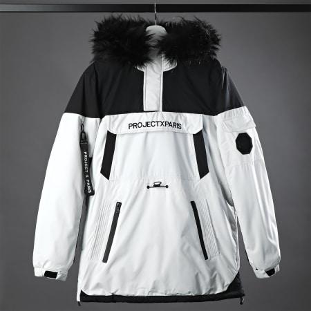 Project X - Parka Demi Zip Capuche Fourrure 1950005 Blanc Noir