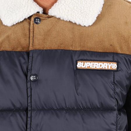 Superdry - Veste Zippé Col Mouton Downhill Racer Box Quilt M5000024A Bleu Marine