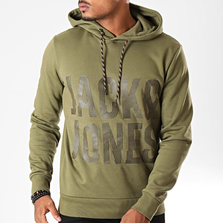 Jack And Jones - Sweat Capuche Scotty Vert Kaki