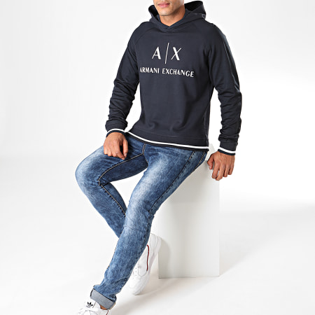 Armani Exchange - Sweat Capuche 6GZM79-ZJ1GZ Bleu Marine