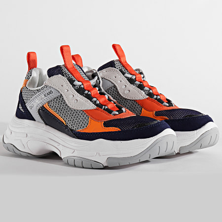 Calvin Klein - Baskets Maya Nylon Suede Nappa R7798 Navy Light Grey Orange