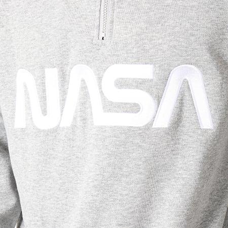 NASA - Sweat Col Zippé A Bandes MT865 Gris Chiné Noir