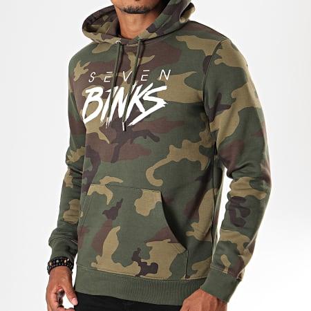 7 Binks - Sweat Capuche Logo Camouflage Vert Kaki
