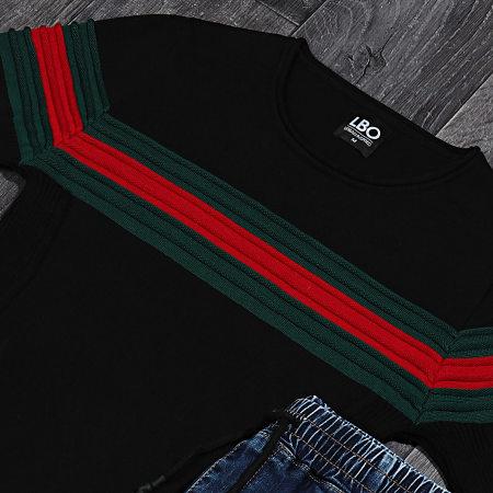 LBO - Pull Avec Bande Vert Et Rouge JUM-23 Noir