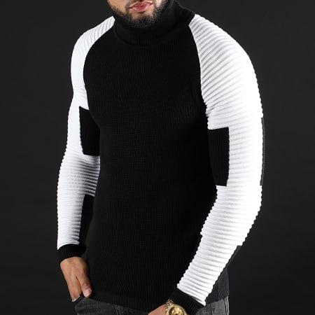 LBO - Pull Col Roulé Avec Empiecement Blanc JUM-26 Noir