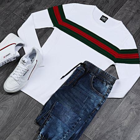 LBO - Pull Avec Bande Vert Et Rouge JUM-29 Blanc