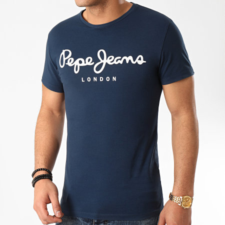 Pepe Jeans - Tee Shirt Original Stretch 501594 Bleu Marine