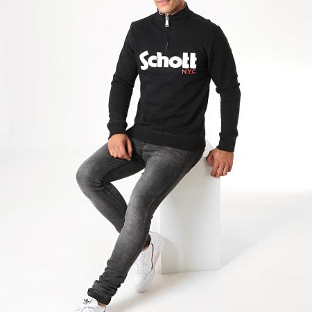 Schott NYC - Sweat Col Zippé Cotti Noir