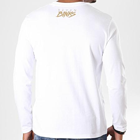 7 Binks - Tee Shirt Manches Longues Seven Blanc Doré