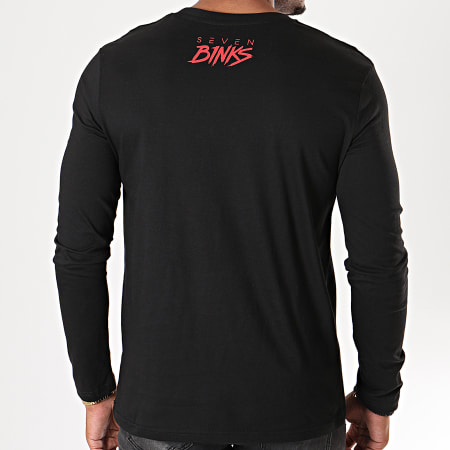 7 Binks - Tee Shirt Manches Longues Seven Noir Rouge