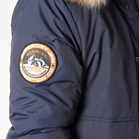 Superdry - Bomber Capuche Fourrure Everest M5000039A Bleu Marine