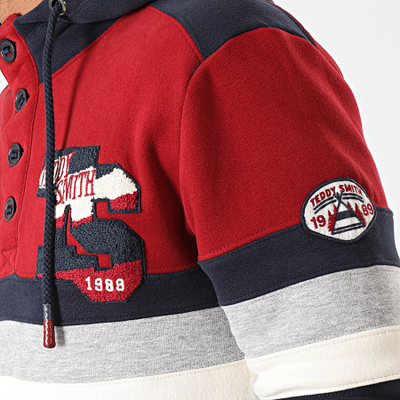Teddy Smith - Sweat Capuche Skull Bleu Marine Rouge