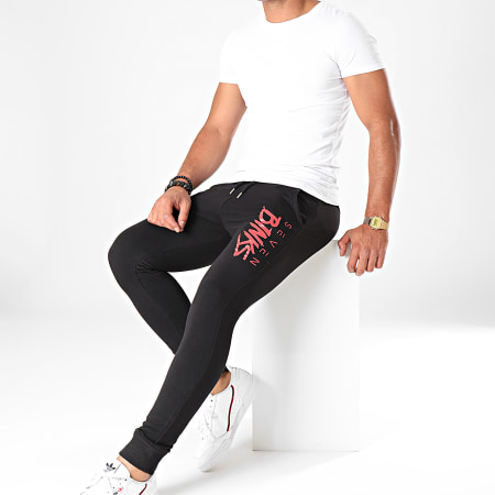 7 Binks - Pantalon Jogging Logo Noir Rouge