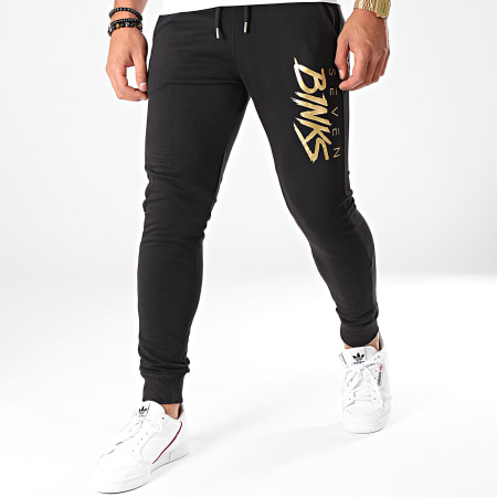 7 Binks - Pantalon Jogging Logo Noir Doré