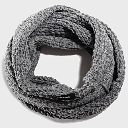Jack And Jones - Echarpe Tube Waffle Knit Gris Chiné