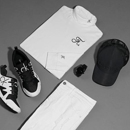 Final Club - Tee Shirt Col Roulé Manches Longues Premium Fit Avec Broderie 302 Blanc